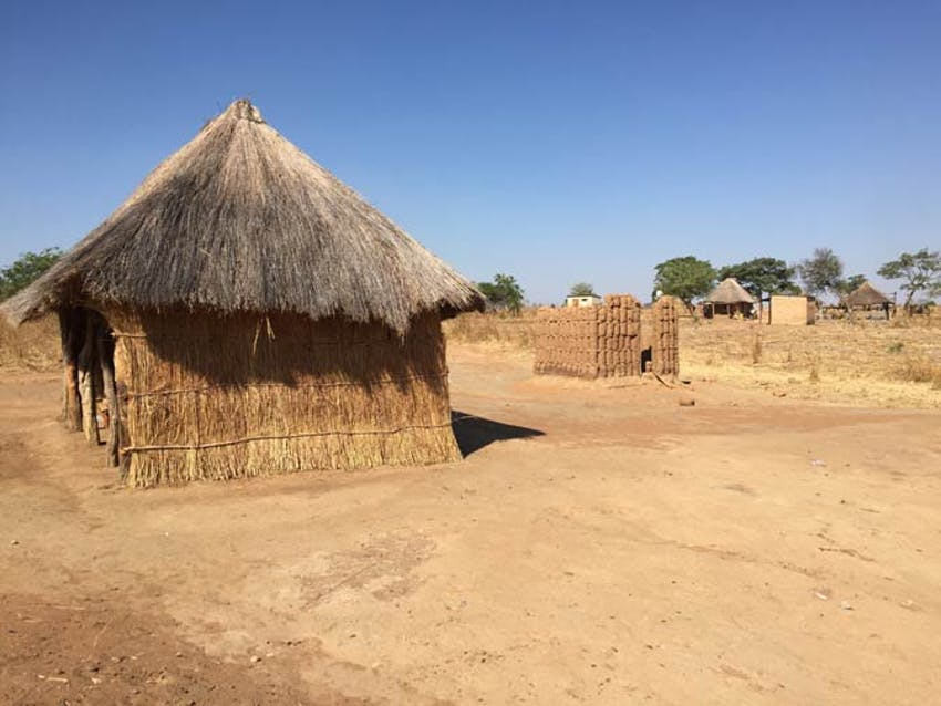 The huts where volunteers live in Zambia