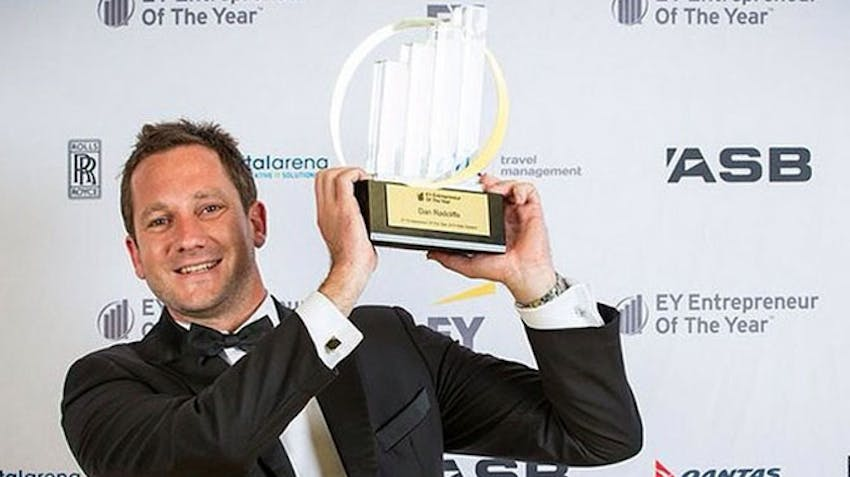 Dan Radcliffe is awarded NZ Entrepreneur of the Year 2014