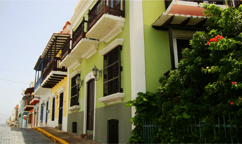 A typical colorful street in Puerto Rico