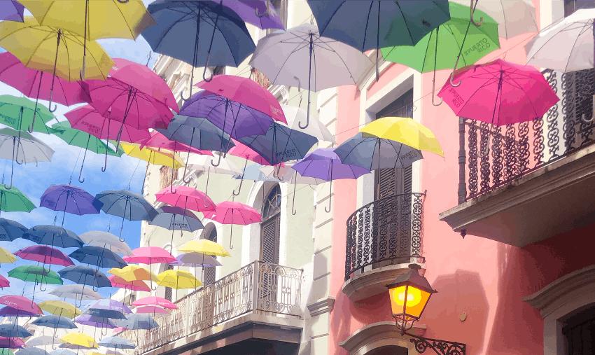 Umbrellas shadowing Puerto Rican street