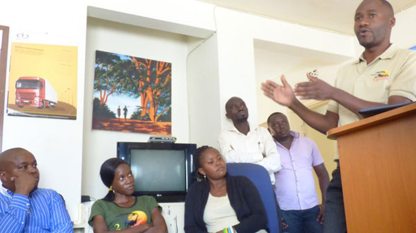 IVHQ Uganda's David speaks at the East Africa Program Swap