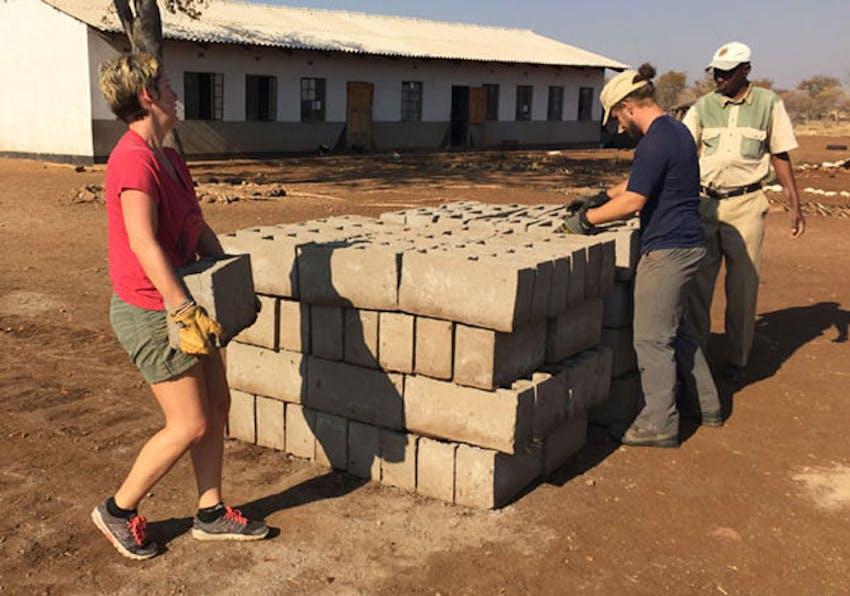IVHQ volunteer Melanie working at a local school in Victoria Falls