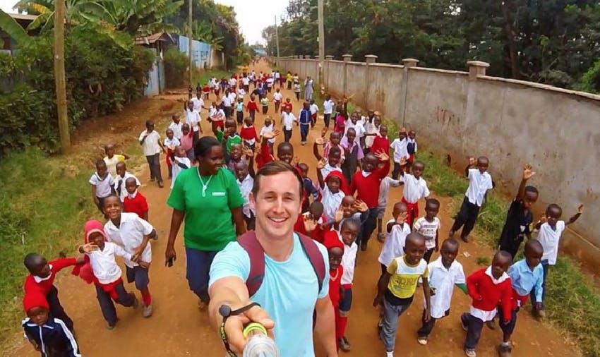 Michael Hobbs selfie with Blessed Hope children
