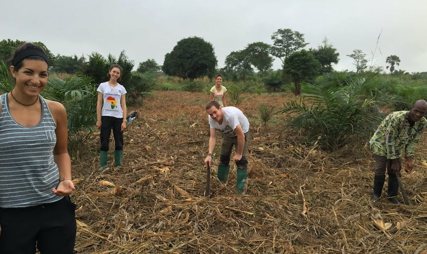 IVHQ volunteer Lara on the Agriculture project in Ghana