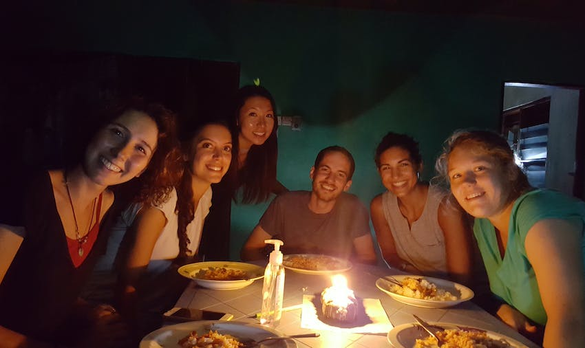 Volunteers making the most of a power cut in Ghana