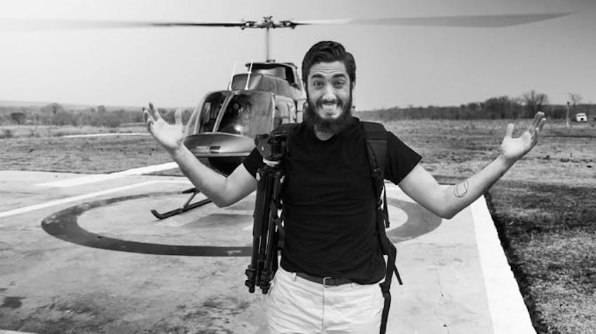 IVHQ's Andrew Ahmed travels by helicopter over Victoria Falls
