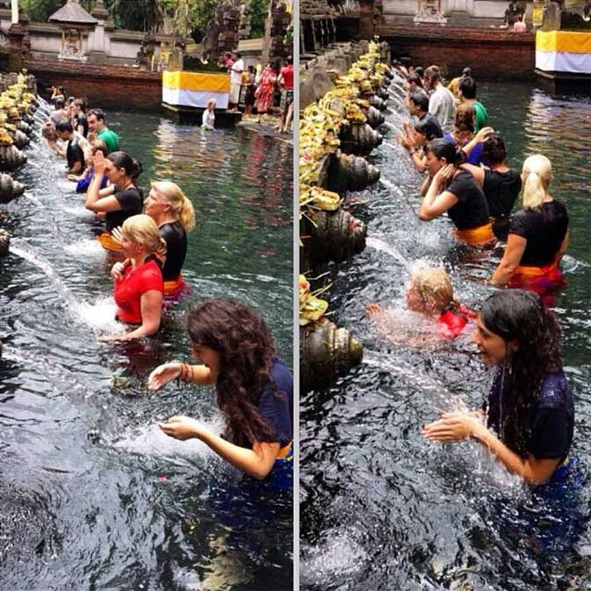 Bathing in Holy Water in Bali as an IVHQ volunteer