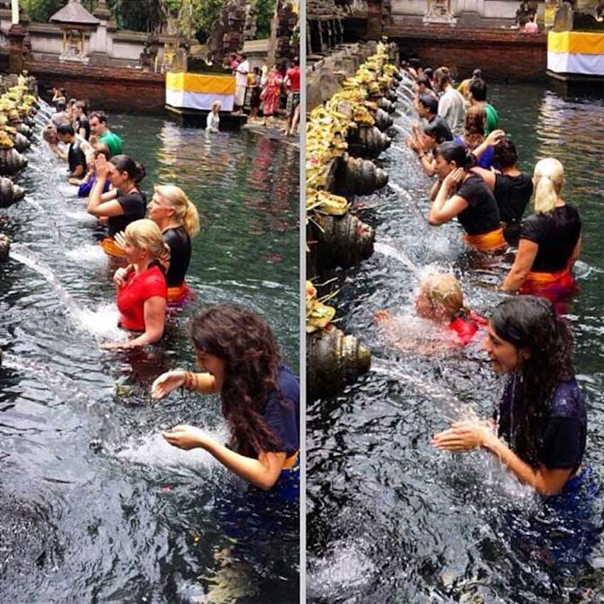 Bathing in Holy Water in Bali as an IVHQ volunteer