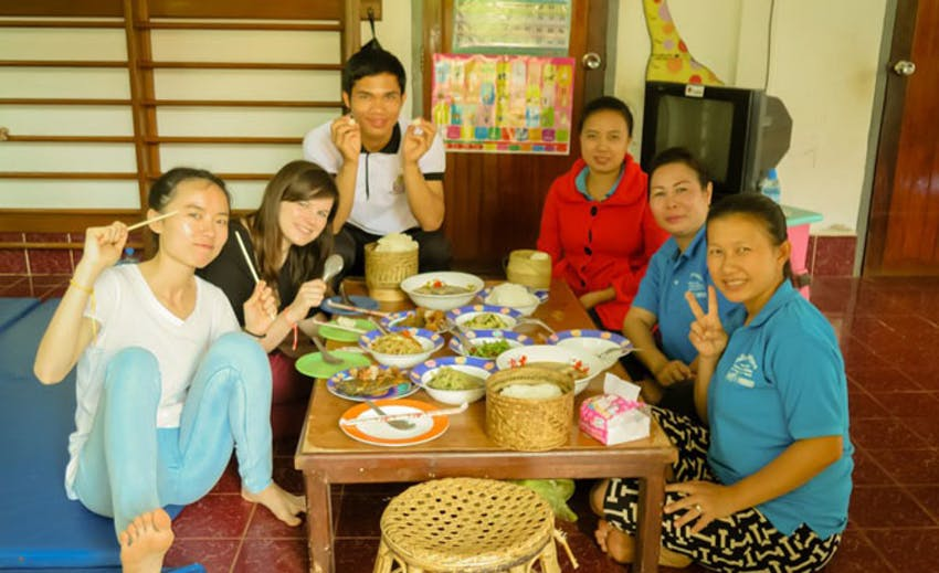 Dinner time as an IVHQ volunteer in Laos