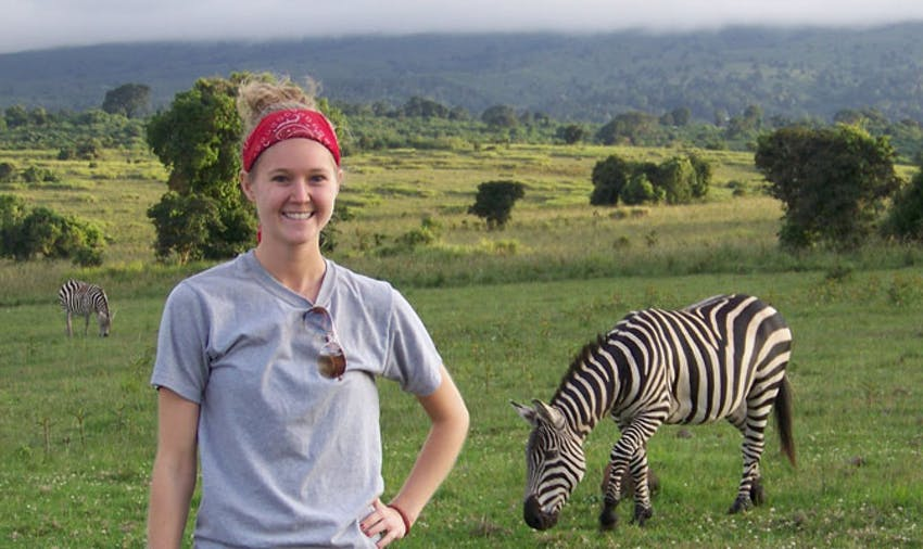 IVHQ volunteer Megan Slotter on Safari in Tanzania