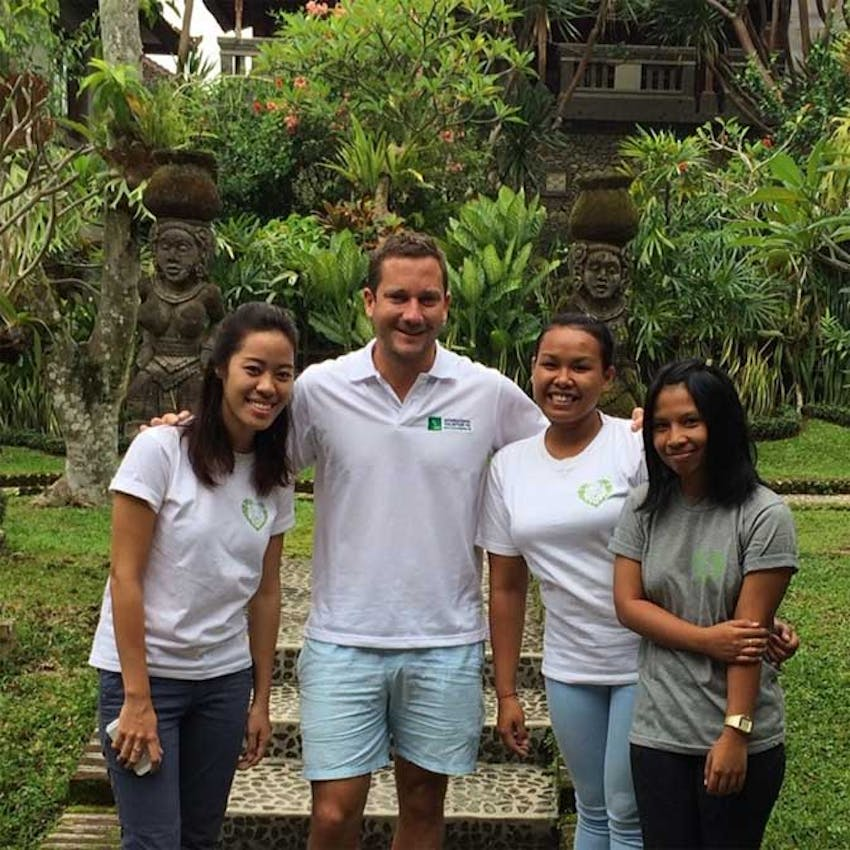 IVHQ's Dan Radcliffe with the local team in Bali