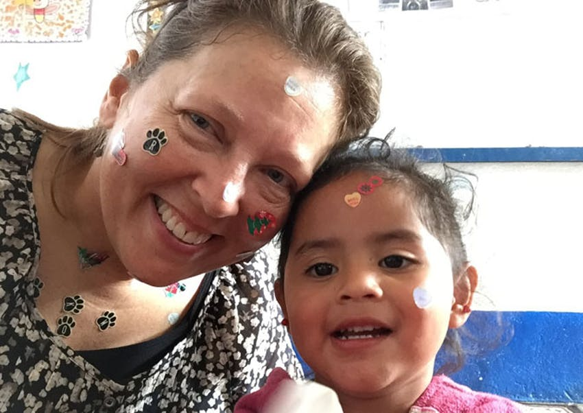 IVHQ volunteer Sue as a childcare in Guatemala