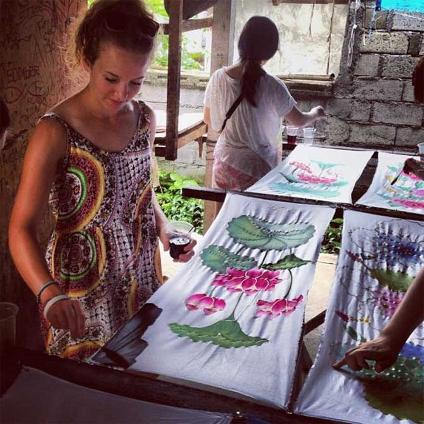 Volunteers learning the art of Batik painting