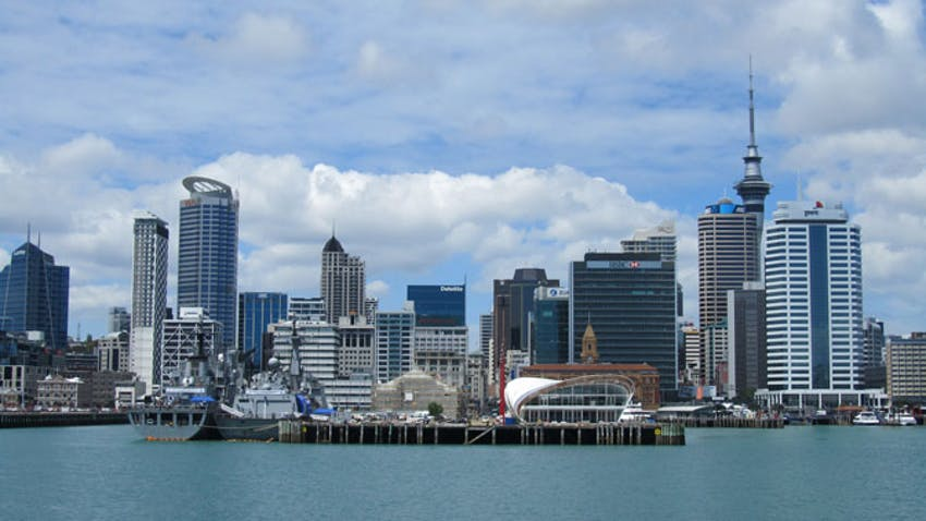 Looking over Auckland city, where IVHQ New Zealand is based.