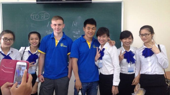Craig as a volunteer teacher in Vietnam with IVHQ