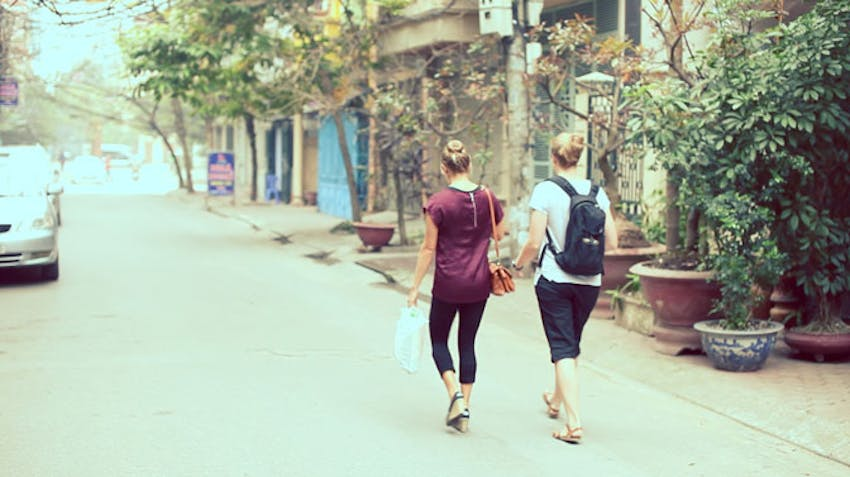 Volunteers walking the streets of Vietnam with IVHQ