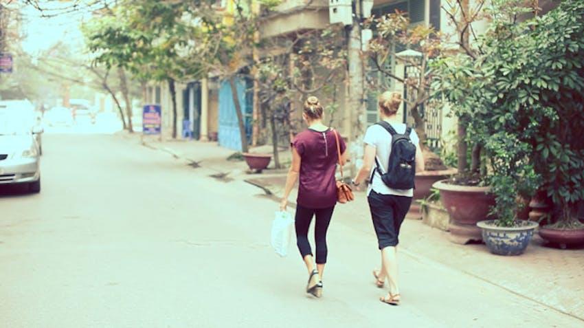 Volunteers walking the streets of Vietnam with IVHQ