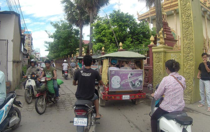 Volunteers travelling to their placement in Cambodia with IVHQ