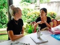 Teaching volunteer prepares lesson in Ubud, Bali with IVHQ