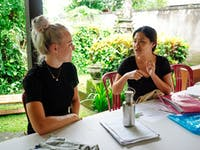 Teaching volunteer prepares lesson in Ubud, Bali with IVHQ