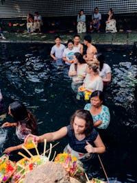 IVHQ volunteers at the Water Temple in Ubud, Bali
