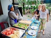 IVHQ Volunteer dinner being served in Ubud, Bali
