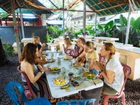 Volunteers eating Lunch in Ubud, Bali with IVHQ