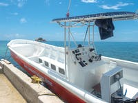Volunteer boat to travel to dive locations in Belize with IVHQ