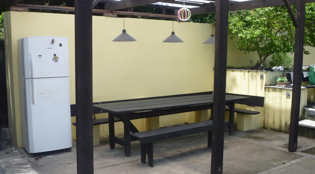 Outside dining area at volunteer accommodation in Rio