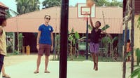 Playing basketball with the local children