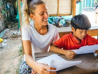 IVHQ volunteer teaching in Cambodia