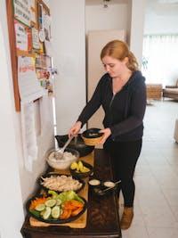 IVHQ volunteer dining in Colombia, Bogota