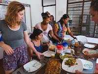 Dining volunteers in Cartagena, Colombia with IVHQ