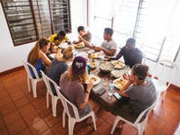 IVHQ volunteers dining in Cartagena, Colombia