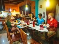 IVHQ volunteers dining in Costa Rica