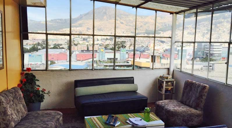 Common room at a volunteer accommodation in Ecuador