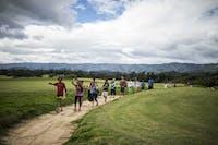 IVHQ Hawaii volunteers walking to project location