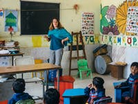 Childcare volunteer teaching in Delhi India with IVHQ
