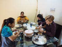 IVHQ volunteers share a meal in Delhi India