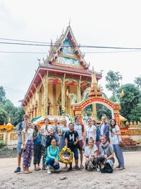 A group of IVHQ volunteers visit Vipassana Temple, Laos during the weekend