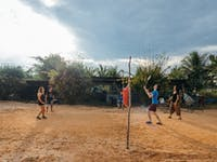 Free time at the volunteer house in Laos