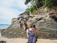 Volunteers explore Nosy Komb beach during an IVHQ weekend