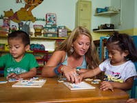 IVHQ Childcare volunteer teaching in Mexico
