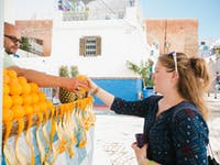 IVHQ volunteers sample food stalls in Morocco