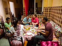 IVHQ volunteers dining in Morocco
