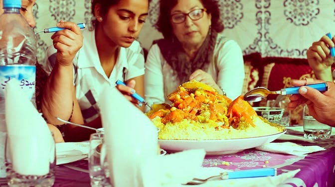 Volunteer meals - Dinner with host family in Morocco