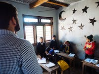 Typical classroom setting in Nepal with IVHQ
