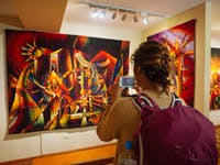 Exploring an art gallery in Cusco, Peru with IVHQ