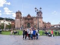 Group of IVHQ volunteers in Cusco, Peru with IVHQ