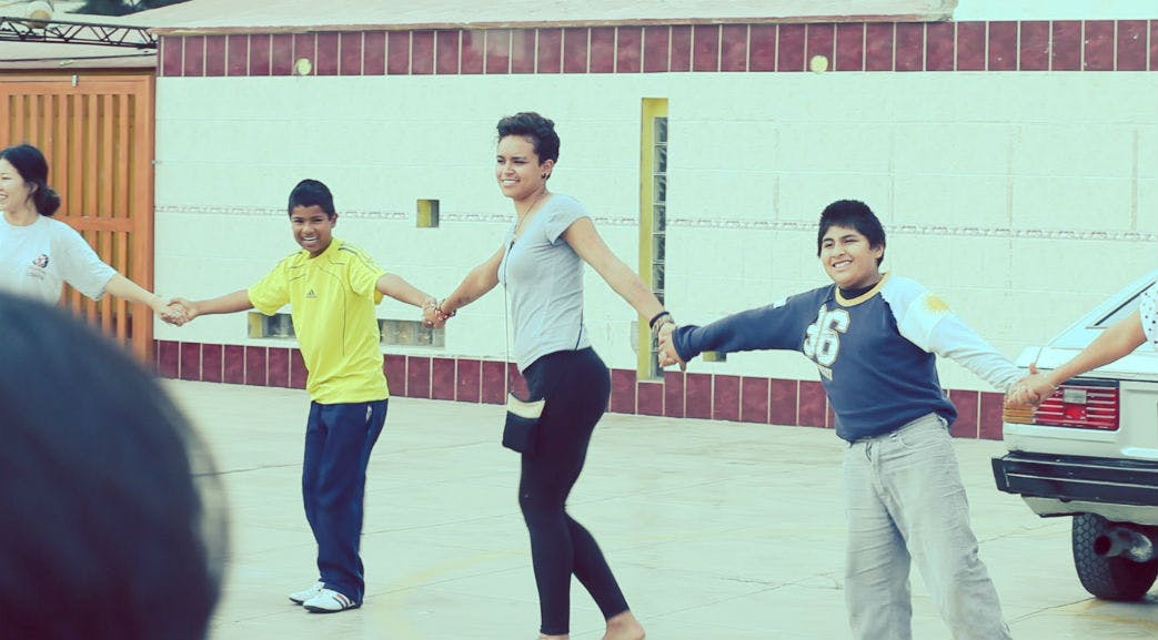 Dancing with the children in Lima